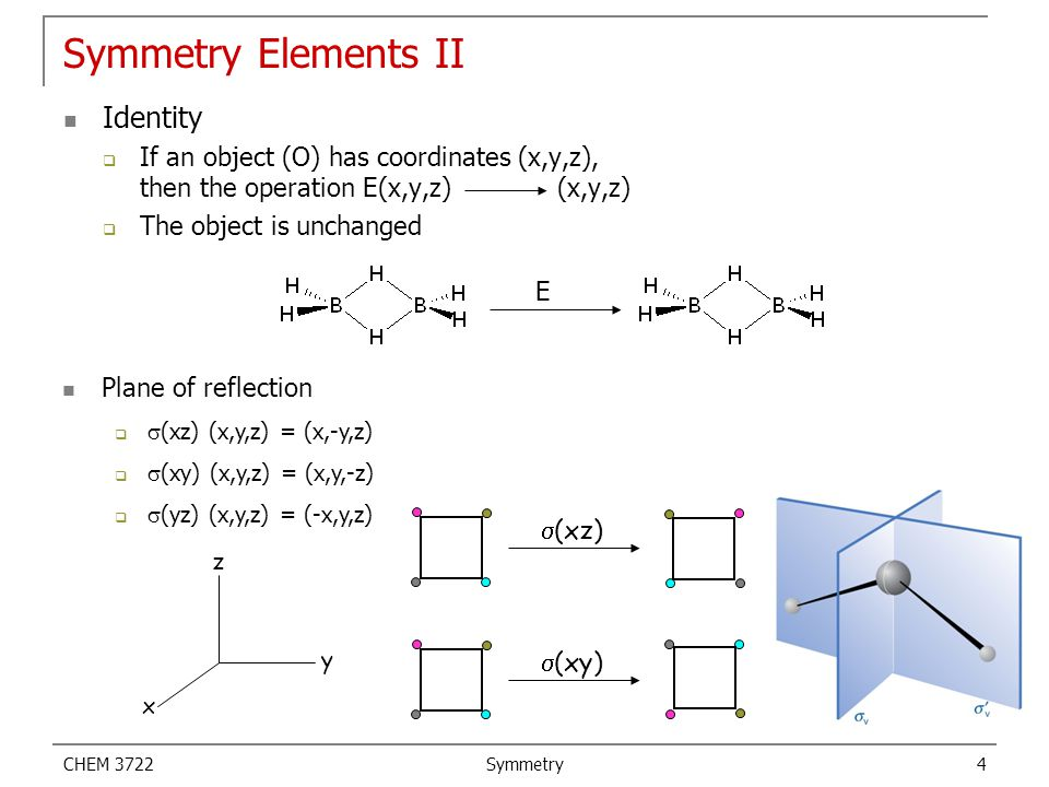CHEM 3722 Symmetry 4 Symmetry Elements II Identity  If an object (O) has coordinates (x,y,z), then the operation E(x,y,z) (x,y,z)  The object is unc