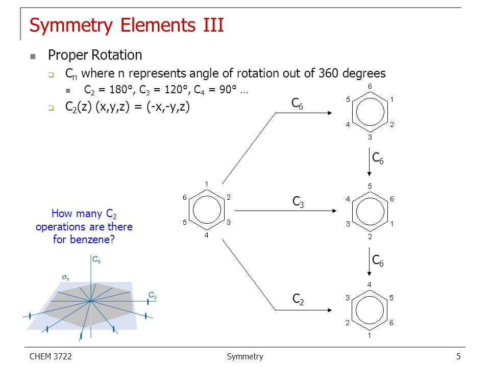 CHEM 3722 Symmetry 6 Symmetry Elements IV Inversion  Takes each point through the center in a straight line to the exact distance on the other side of center  i (x,y,z) = (-x,-y,-z) Improper Rotation  A two step operation that first does a proper rotation and then a reflection through a mirror plane perpendicular to the rotational axis.