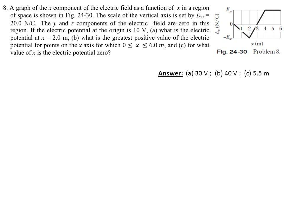 Answer: (a) 30 V ; (b) 40 V ; (c) 5.5 m