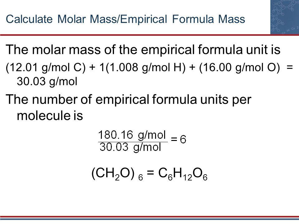Calculate Molar Mass/Empirical Formula Mass The molar mass of the empirical formula unit is (12.01 g/mol C) + 1(1.008 g/mol H) + (16.00 g/mol O) = 30.