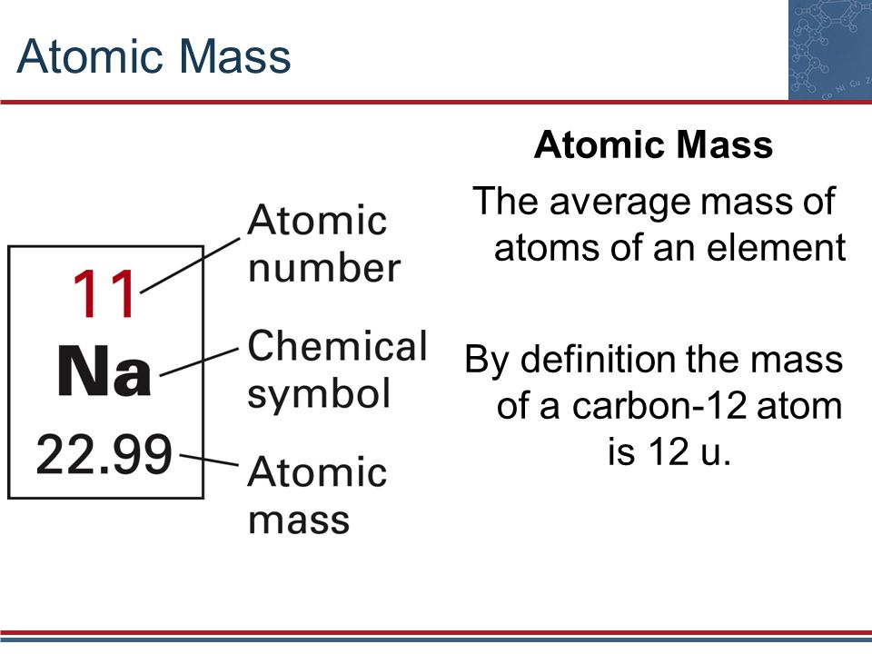Atomic Mass The average mass of atoms of an element By definition the mass of a carbon-12 atom is 12 u.