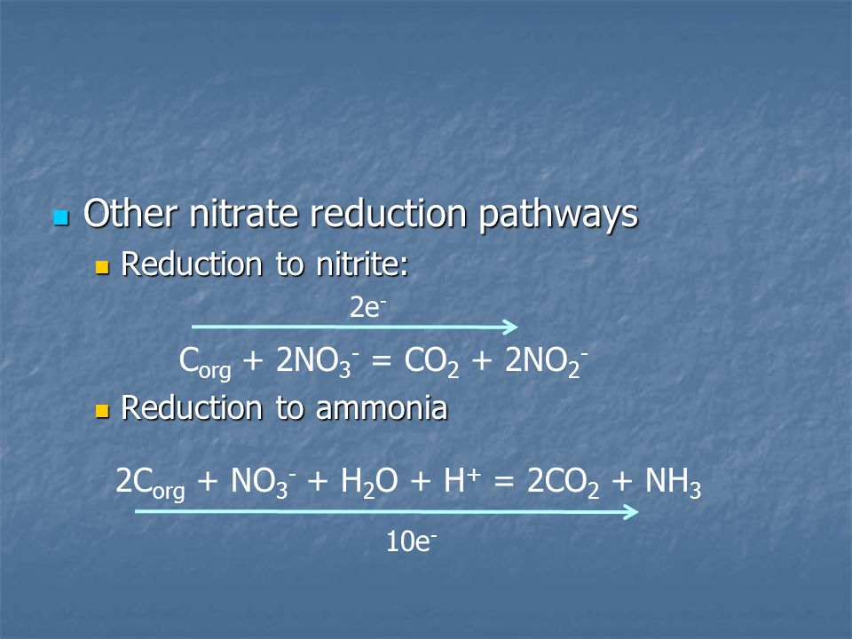 Other nitrate reduction pathways Other nitrate reduction pathways Reduction to nitrite: Reduction to nitrite: Reduction to ammonia Reduction to ammonia C org + 2NO 3 - = CO 2 + 2NO 2 - 2C org + NO 3 - + H 2 O + H + = 2CO 2 + NH 3 2e - 10e -