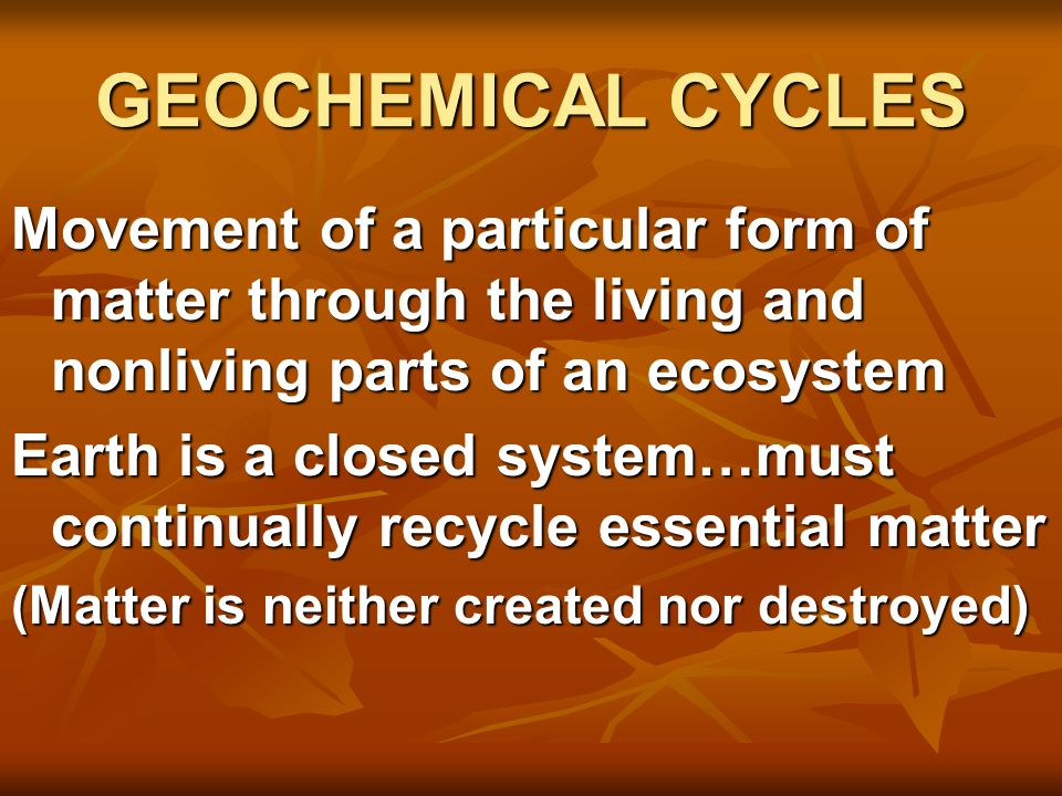 THE CARBON CYCLE Carbon is especially important to living systems because it is the key ingredient in all living organisms…Proteins, carbohydrates, lipids, nucleic acids Carbon is especially important to living systems because it is the key ingredient in all living organisms…Proteins, carbohydrates, lipids, nucleic acids