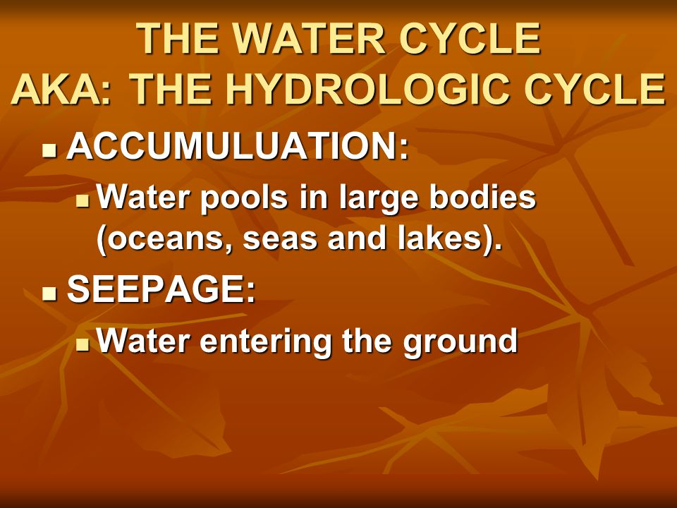 THE WATER CYCLE AKA: THE HYDROLOGIC CYCLE ACCUMULUATION: ACCUMULUATION: Water pools in large bodies (oceans, seas and lakes).
