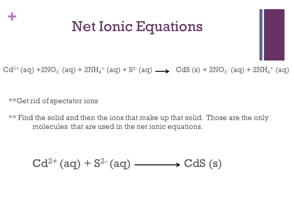+ Net Ionic Equations Cd 2+ (aq) +2NO 3 - (aq) + 2NH 4 + (aq) + S 2- (aq) CdS (s) + 2NO 3 - (aq) + 2NH 4 + (aq) **Get rid of spectator ions ** Find th