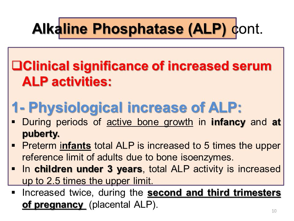  Clinical significance of increased serum ALP activities: 1- Physiological increase of ALP: infancyat puberty.  During periods of active bone growth