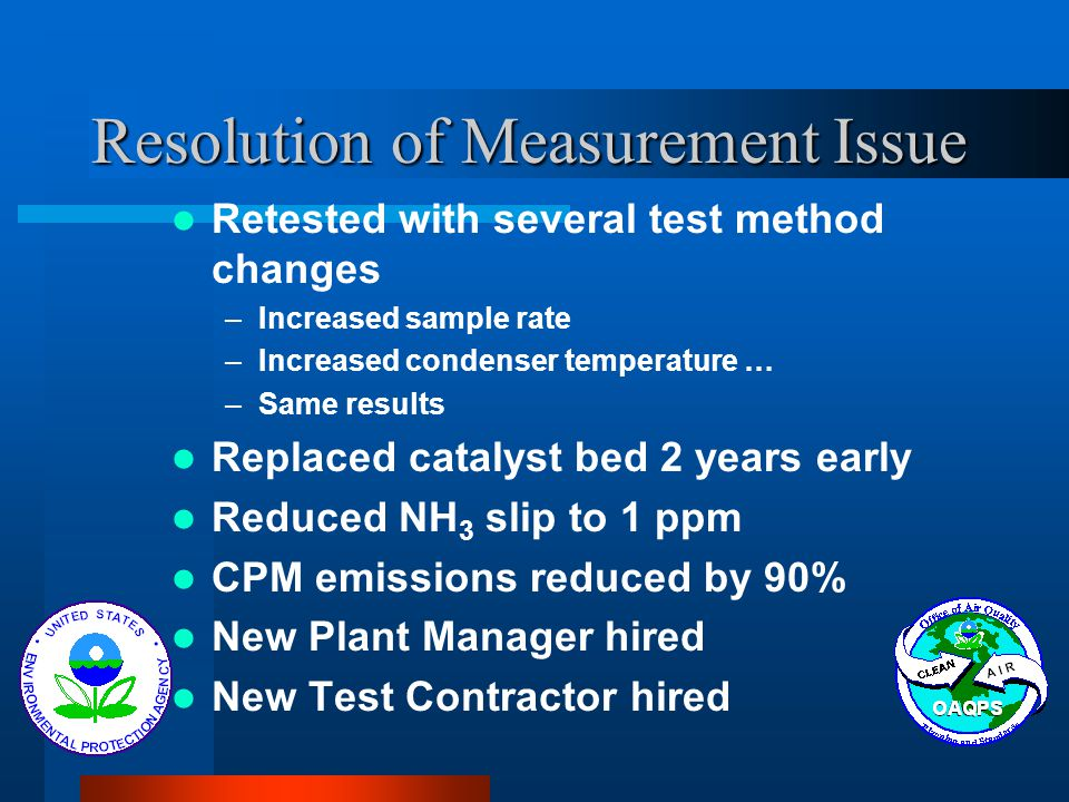 Resolution of Measurement Issue Retested with several test method changes –Increased sample rate –Increased condenser temperature … –Same results Repl