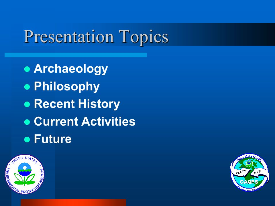 Presentation Topics Archaeology Philosophy Recent History Current Activities Future
