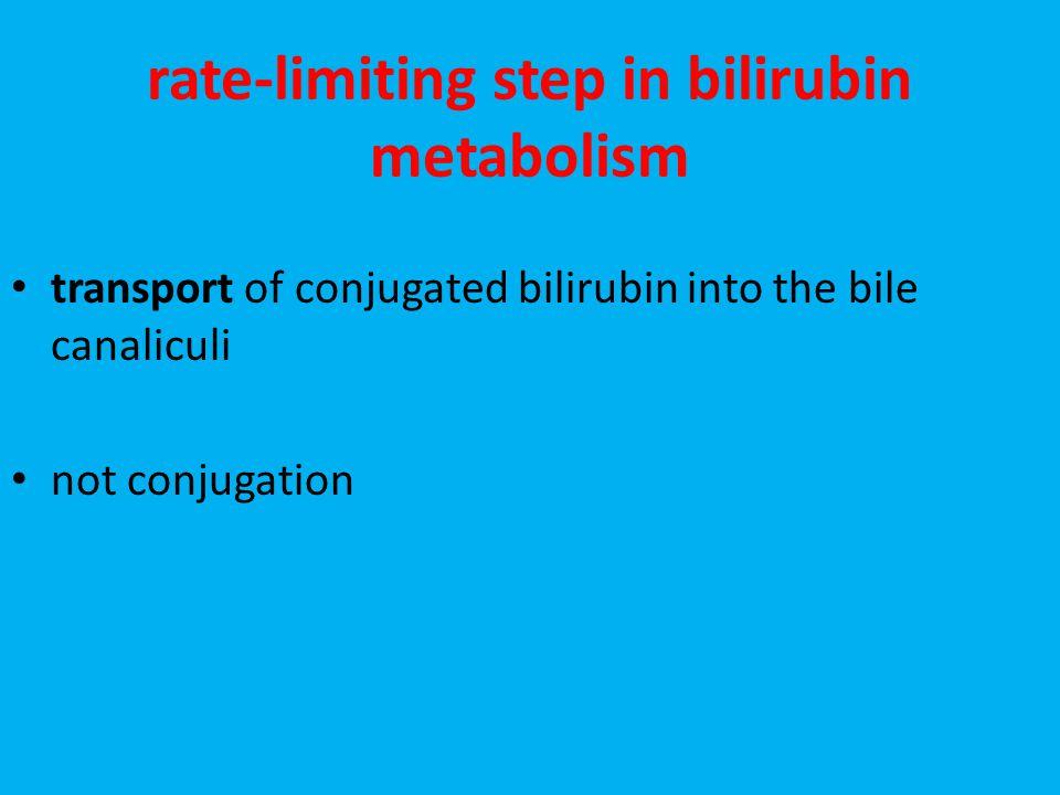 rate-limiting step in bilirubin metabolism transport of conjugated bilirubin into the bile canaliculi not conjugation