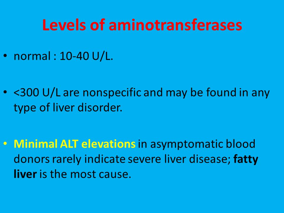 Levels of aminotransferases normal : 10-40 U/L.