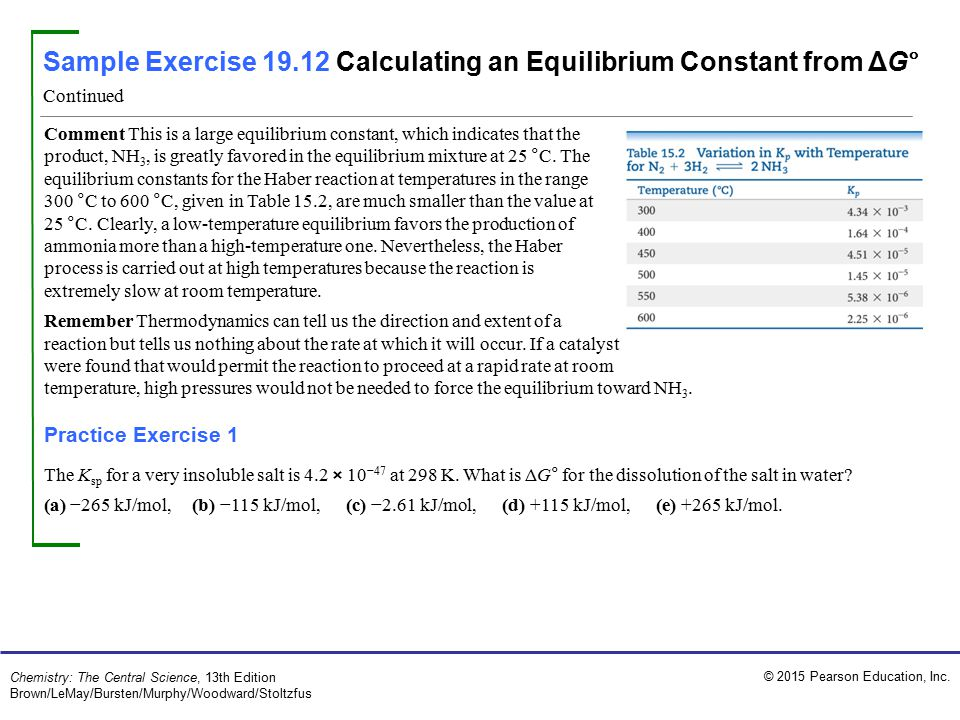 © 2015 Pearson Education, Inc. Chemistry: The Central Science, 13th Edition Brown/LeMay/Bursten/Murphy/Woodward/Stoltzfus Comment This is a large equi