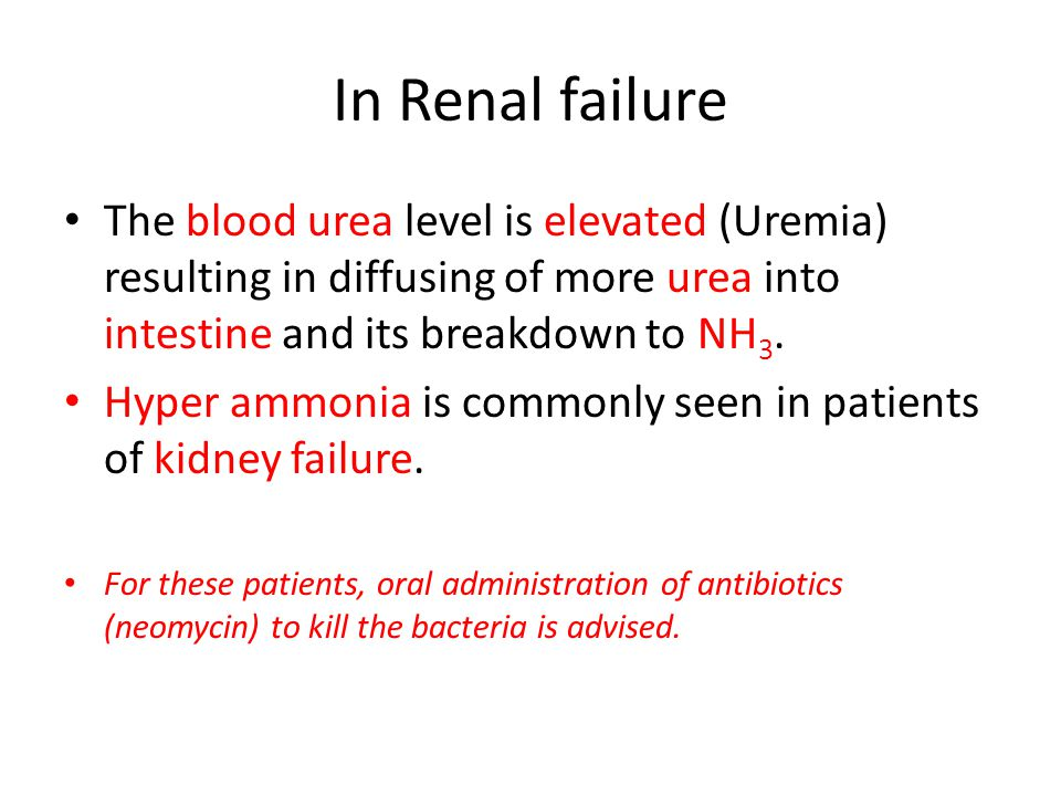In Renal failure The blood urea level is elevated (Uremia) resulting in diffusing of more urea into intestine and its breakdown to NH 3.