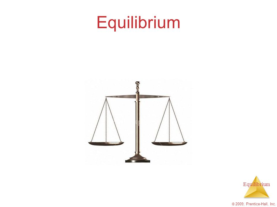 Equilibrium K is an expression of theconcentations (or partial presures) of reactants and products at equ'm  G indicates whether a reaction will have a higher forward or reverse rate and move in the forward or reverse reaction to achieve equilibrium © 2009, Prentice-Hall, Inc.