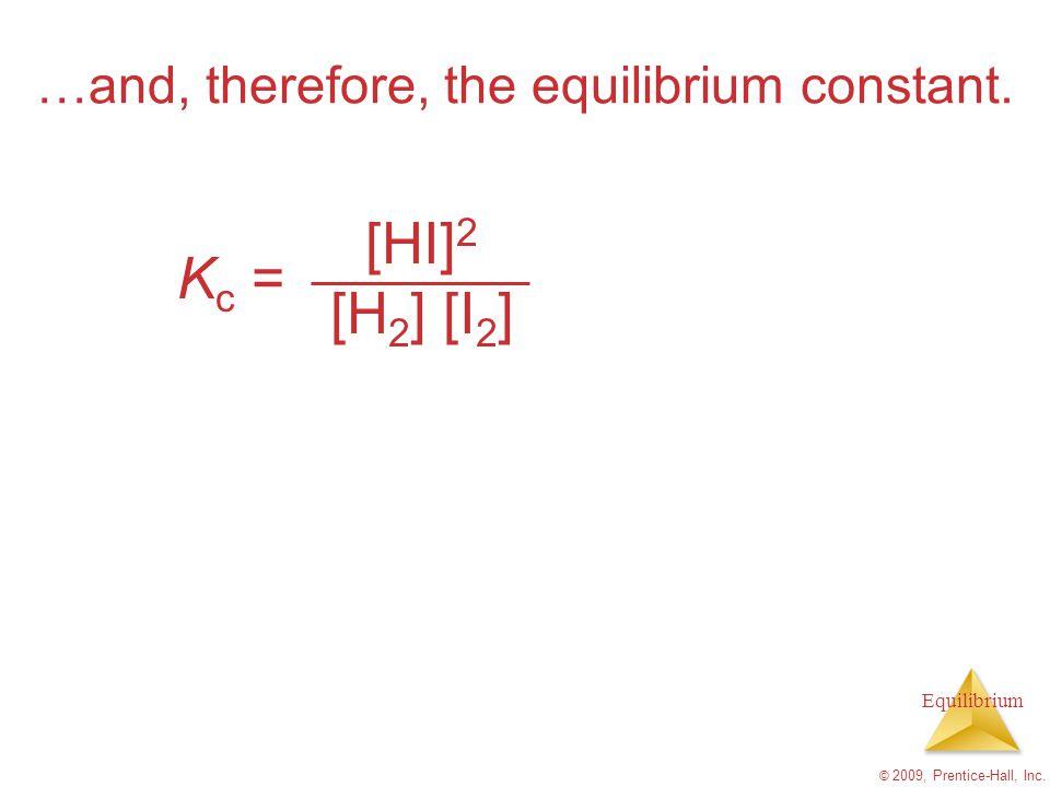 Equilibrium © 2009, Prentice-Hall, Inc. …and, therefore, the equilibrium constant. K c = [HI] 2 [H 2 ] [I 2 ]