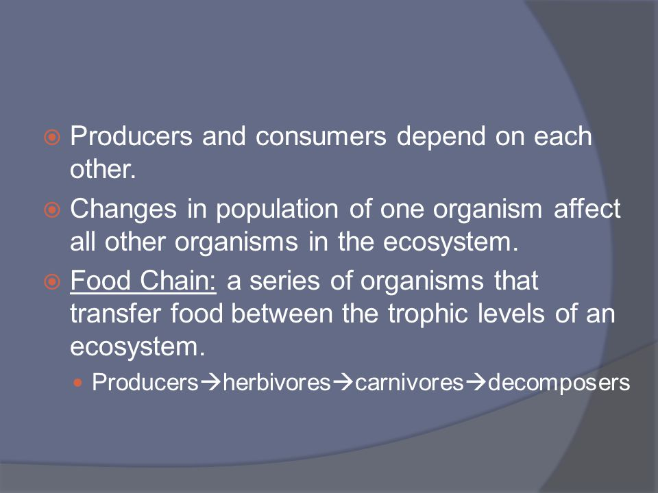  Producers and consumers depend on each other.  Changes in population of one organism affect all other organisms in the ecosystem.  Food Chain: a s