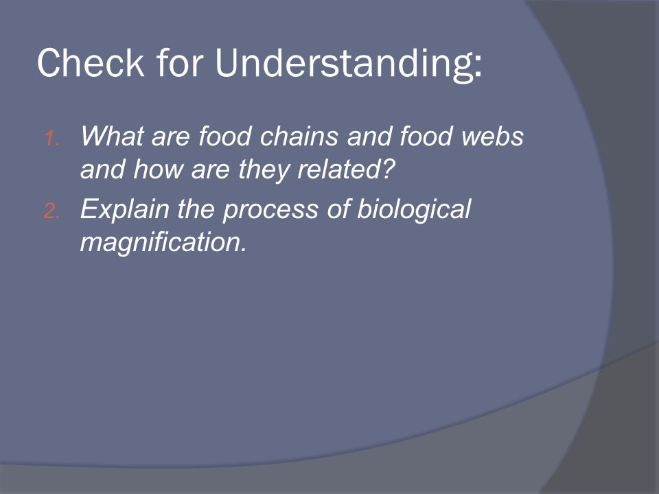 Check for Understanding: 1. What are food chains and food webs and how are they related? 2. Explain the process of biological magnification.