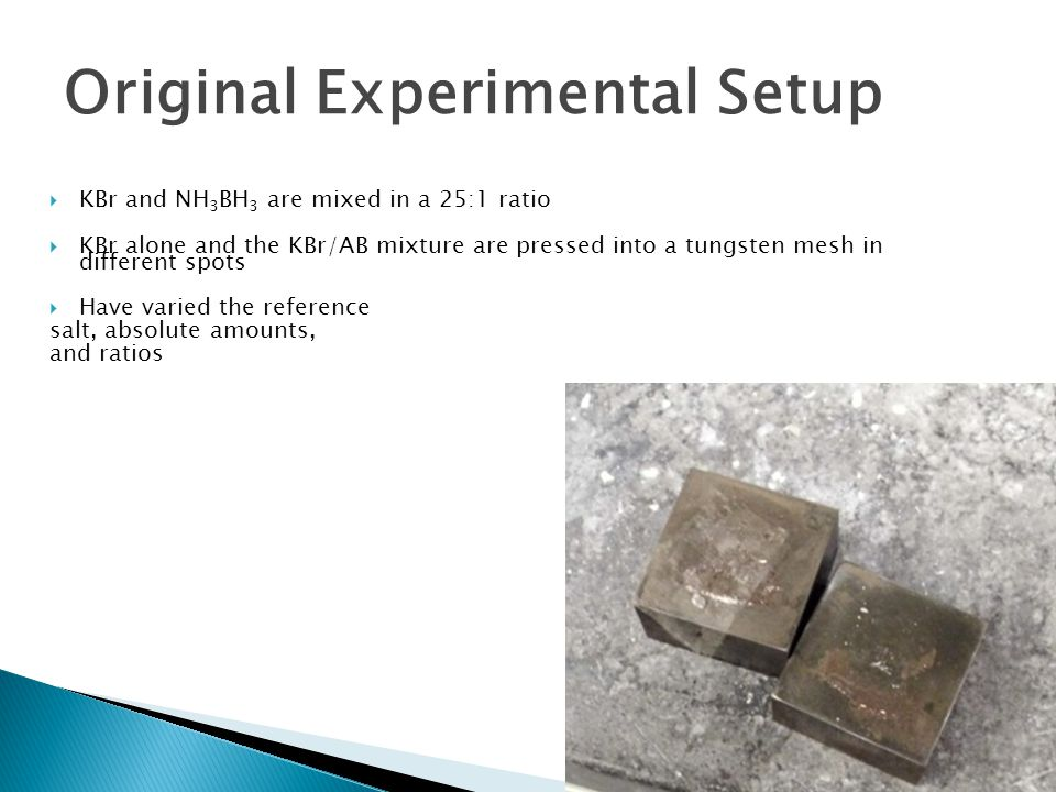  KBr and NH 3 BH 3 are mixed in a 25:1 ratio  KBr alone and the KBr/AB mixture are pressed into a tungsten mesh in different spots  Have varied the reference salt, absolute amounts, and ratios Original Experimental Setup