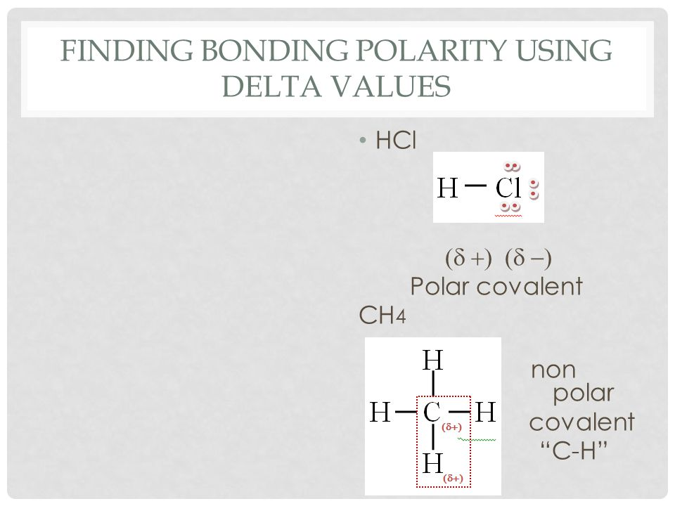 "FINDING BONDING POLARITY USING DELTA VALUES HCl  Polar covalent CH 4 non polar covalent ""C-H"""