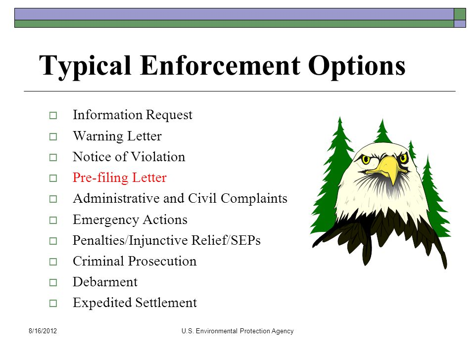 Typical Enforcement Options  Information Request  Warning Letter  Notice of Violation  Pre-filing Letter  Administrative and Civil Complaints  E