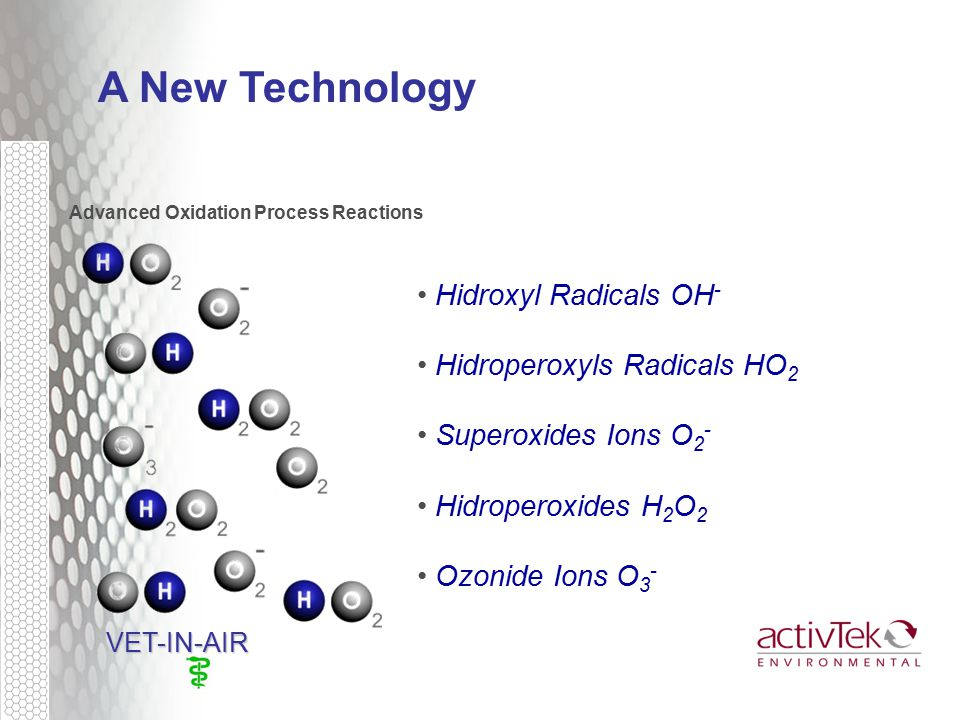Advanced Oxidation Process Reactions VET-IN-AIR VET-IN-AIR A New Technology Hidroxyl Radicals OH - Hidroperoxyls Radicals HO 2 Superoxides Ions O 2 - Hidroperoxides H 2 O 2 Ozonide Ions O 3 -