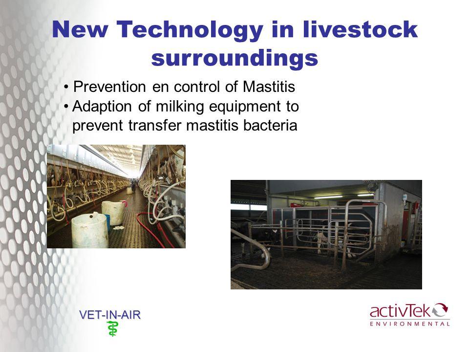 New Technology in livestock surroundings VET-IN-AIR Prevention en control of Mastitis Adaption of milking equipment to prevent transfer mastitis bacteria