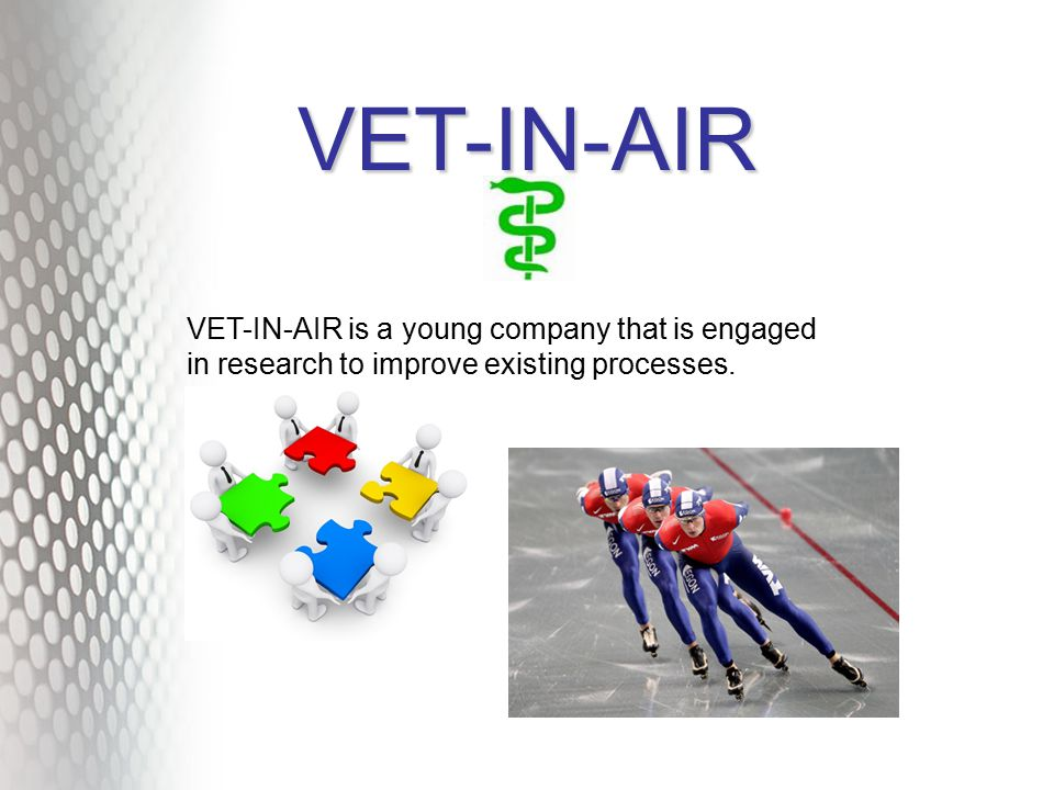 VET-IN-AIR VET-IN-AIR is a young company that is engaged in research to improve existing processes.