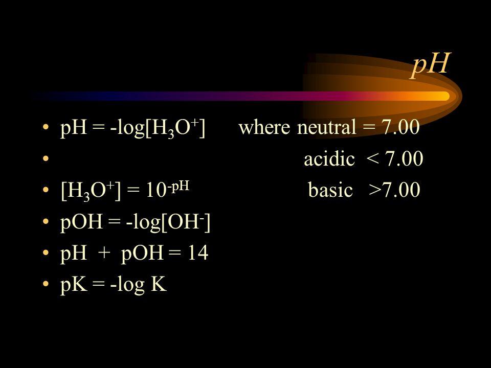 pH pH = -log[H 3 O + ] where neutral = 7.00 acidic < 7.00 [H 3 O + ] = 10 -pH basic >7.00 pOH = -log[OH - ] pH + pOH = 14 pK = -log K