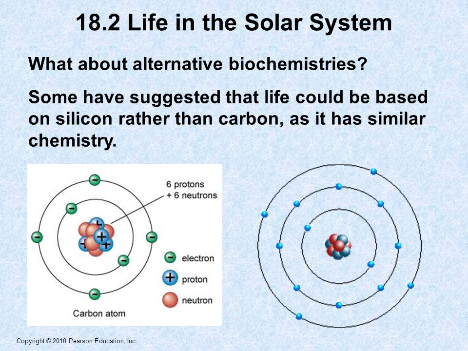 Copyright © 2010 Pearson Education, Inc. What about alternative biochemistries? Some have suggested that life could be based on silicon rather than ca