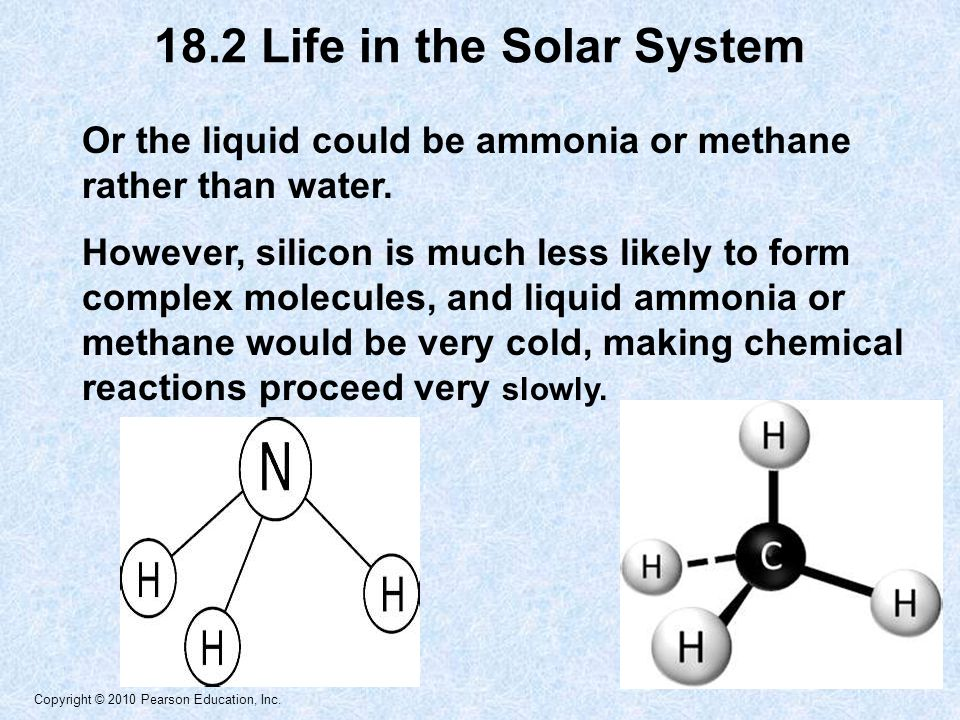 Copyright © 2010 Pearson Education, Inc. Or the liquid could be ammonia or methane rather than water. However, silicon is much less likely to form com