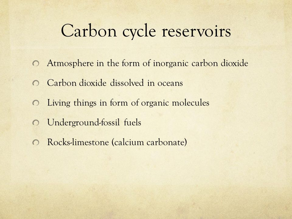 Carbon cycle reservoirs Atmosphere in the form of inorganic carbon dioxide Carbon dioxide dissolved in oceans Living things in form of organic molecul