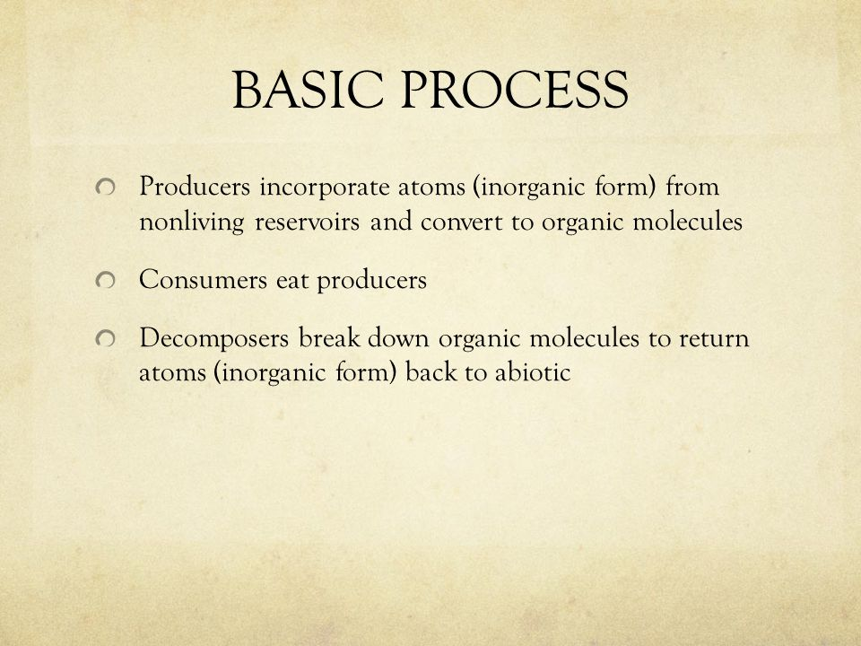 BASIC PROCESS Producers incorporate atoms (inorganic form) from nonliving reservoirs and convert to organic molecules Consumers eat producers Decomposers break down organic molecules to return atoms (inorganic form) back to abiotic