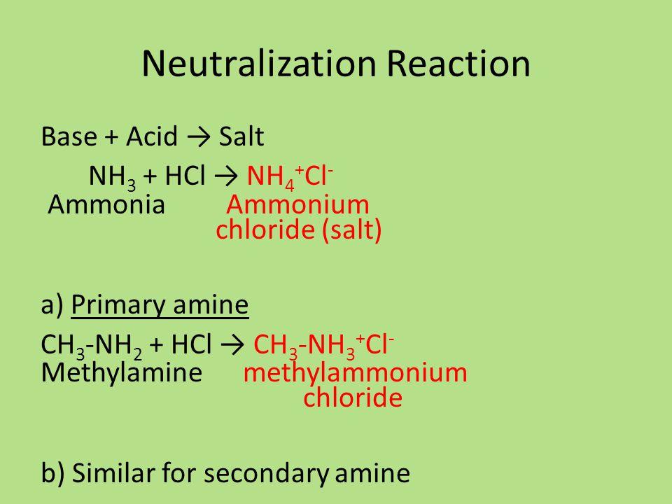 Neutralization Reaction Base + Acid → Salt NH 3 + HCl → NH 4 + Cl - Ammonia Ammonium chloride (salt) a) Primary amine CH 3 -NH 2 + HCl → CH 3 -NH 3 + Cl - Methylamine methylammonium chloride b) Similar for secondary amine
