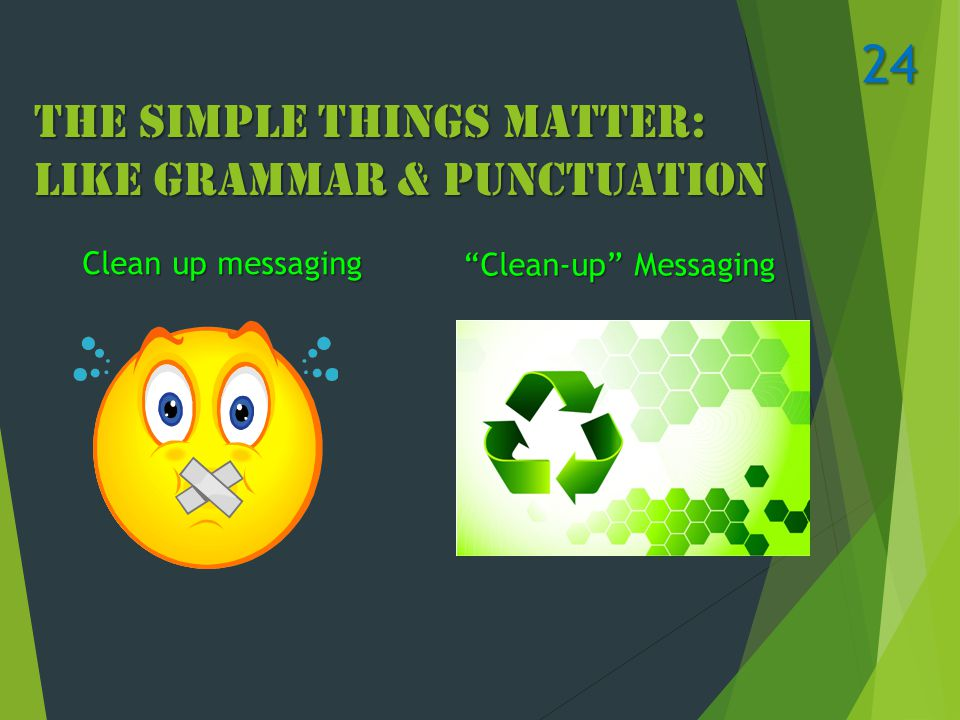 The Simple Things Matter: Like Grammar & Punctuation Clean up messaging Clean-up Messaging 24