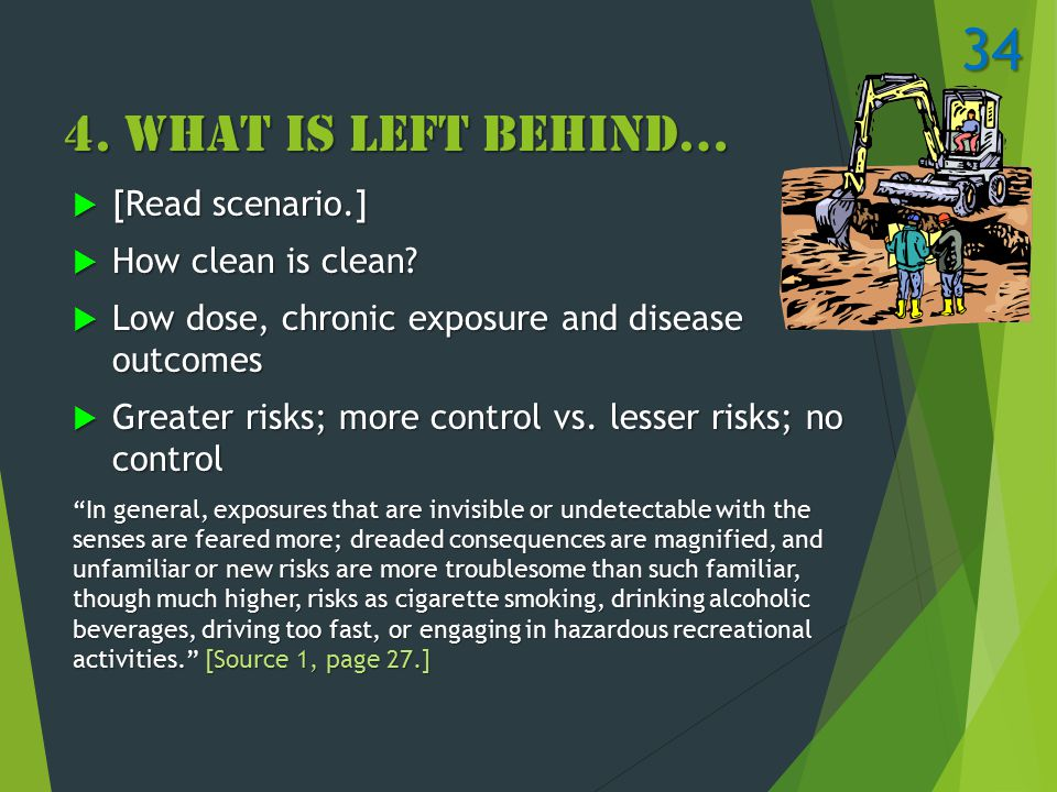 4. What Is Left Behind…  [Read scenario.]  How clean is clean.