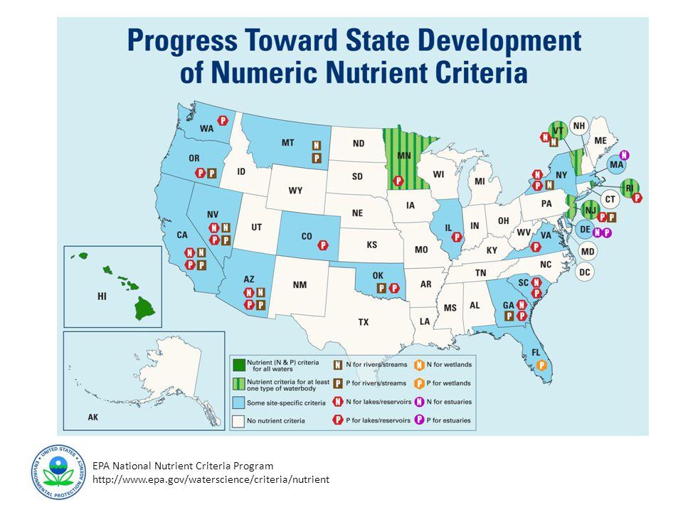 EPA National Nutrient Criteria Program http://www.epa.gov/waterscience/criteria/nutrient