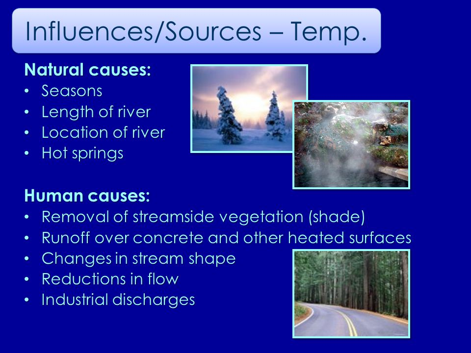 Natural causes: Seasons Seasons Length of river Length of river Location of river Location of river Hot springs Hot springs Human causes: Removal of streamside vegetation (shade) Removal of streamside vegetation (shade) Runoff over concrete and other heated surfaces Runoff over concrete and other heated surfaces Changes in stream shape Changes in stream shape Reductions in flow Reductions in flow Industrial discharges Industrial discharges Influences/Sources – Temp.