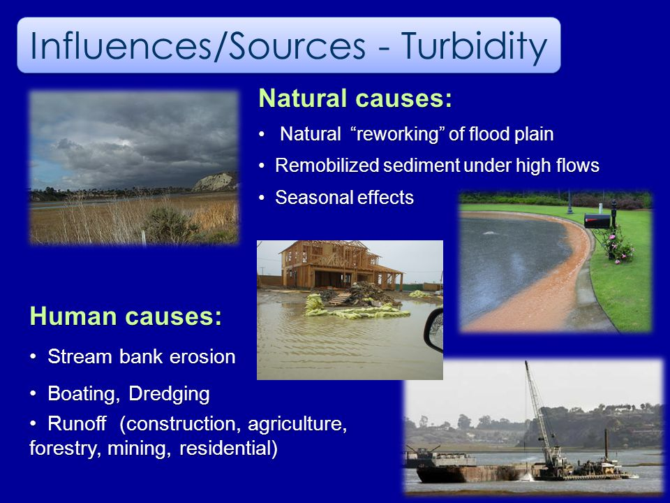 Natural causes: Natural reworking of flood plain Natural reworking of flood plain Remobilized sediment under high flows Remobilized sediment under high flows Seasonal effects Seasonal effects Influences/Sources - Turbidity Human causes: Stream bank erosion Stream bank erosion Boating, Dredging Boating, Dredging Runoff (construction, agriculture, forestry, mining, residential) Runoff (construction, agriculture, forestry, mining, residential)