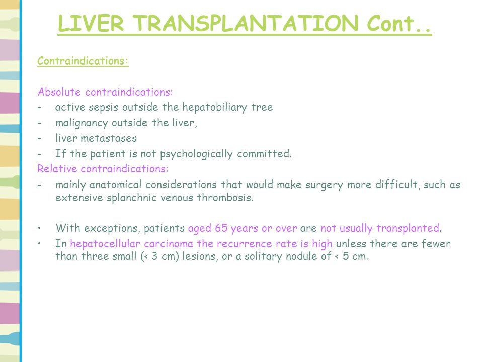 Contraindications: Absolute contraindications: -active sepsis outside the hepatobiliary tree -malignancy outside the liver, -liver metastases -If the