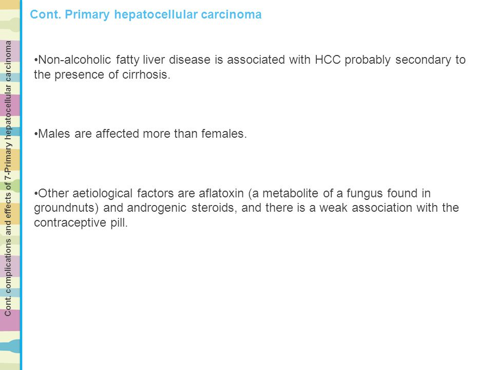 Non-alcoholic fatty liver disease is associated with HCC probably secondary to the presence of cirrhosis. Males are affected more than females. Other