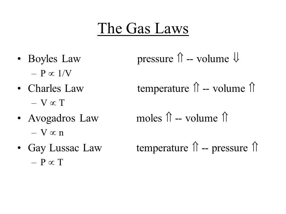 15 Avogadro's Law V  number of moles (n) V = constant x n V 1 / n 1 = V 2 / n 2 Constant temperature Constant pressure