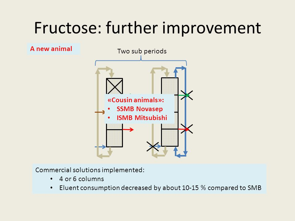 Fructose: further improvement Commercial solutions implemented: 4 or 6 columns Eluent consumption decreased by about 10-15 % compared to SMB Two sub periods «Cousin animals»: SSMB Novasep ISMB Mitsubishi A new animal