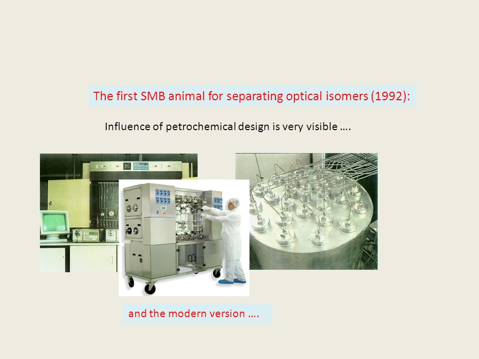 The first SMB animal for separating optical isomers (1992): Influence of petrochemical design is very visible ….
