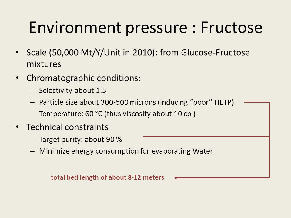 Environment pressure : Fructose Scale (50,000 Mt/Y/Unit in 2010): from Glucose-Fructose mixtures Chromatographic conditions: – Selectivity about 1.5 – Particle size about 300-500 microns (inducing poor HETP) – Temperature: 60 °C (thus viscosity about 10 cp ) Technical constraints – Target purity: about 90 % – Minimize energy consumption for evaporating Water total bed length of about 8-12 meters
