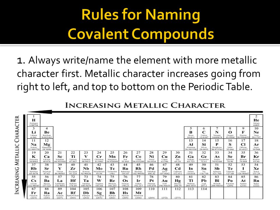 1. Always write/name the element with more metallic character first.