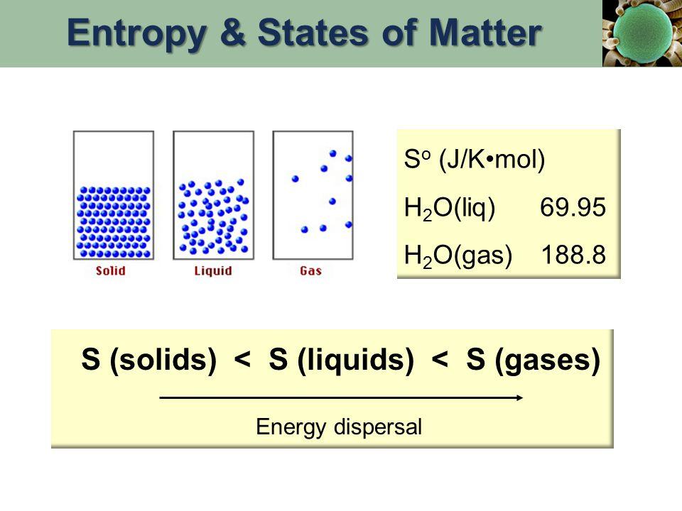 S o (J/Kmol) H 2 O(liq)69.95 H 2 O(gas)188.8 Energy dispersal S (solids) < S (liquids) < S (gases) Entropy & States of Matter