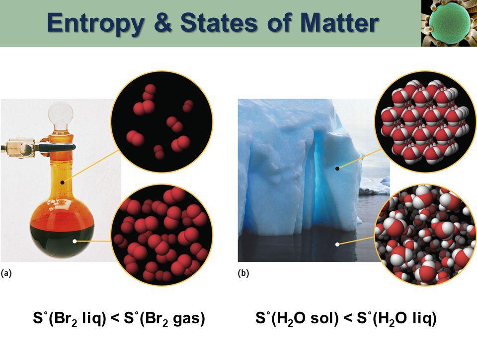 S˚(Br 2 liq) < S˚(Br 2 gas)S˚(H 2 O sol) < S˚(H 2 O liq) Entropy & States of Matter