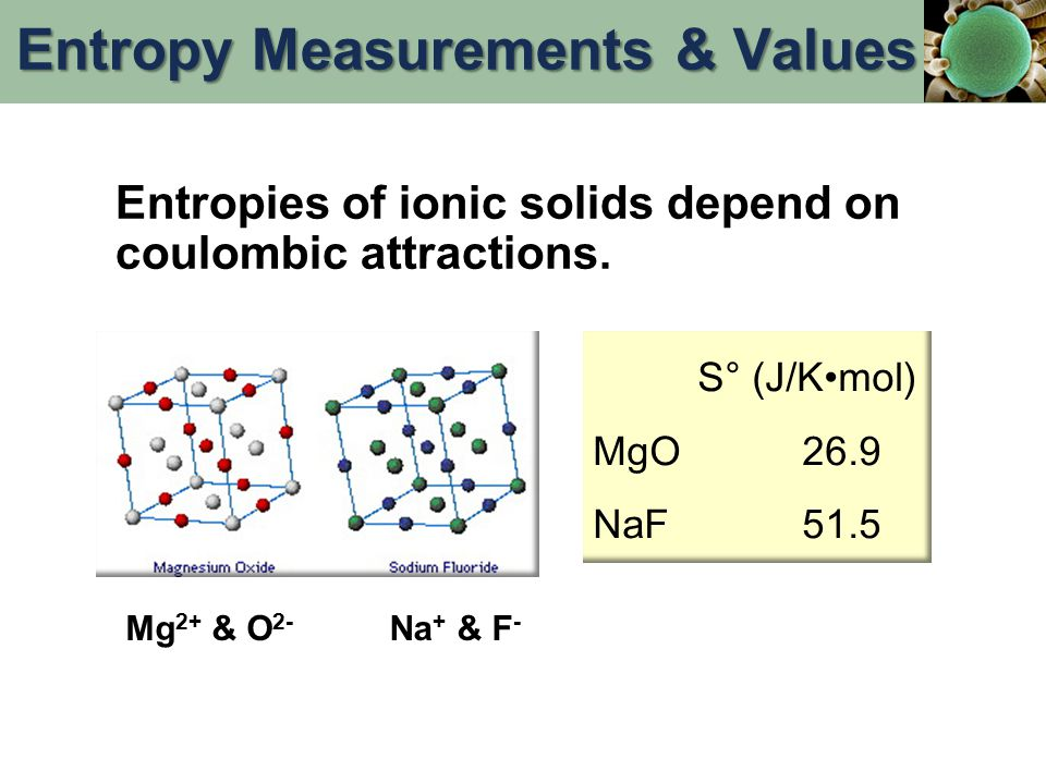 Entropies of ionic solids depend on coulombic attractions. S° (J/Kmol) MgO26.9 NaF51.5 Mg 2+ & O 2- Na + & F - Entropy Measurements & Values