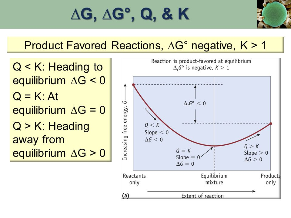 Product Favored Reactions, ∆G° negative, K > 1 Q < K: Heading to equilibrium  G < 0 Q = K: At equilibrium  G = 0 Q > K: Heading away from equilibrium  G > 0 ∆G, ∆G°, Q, & K