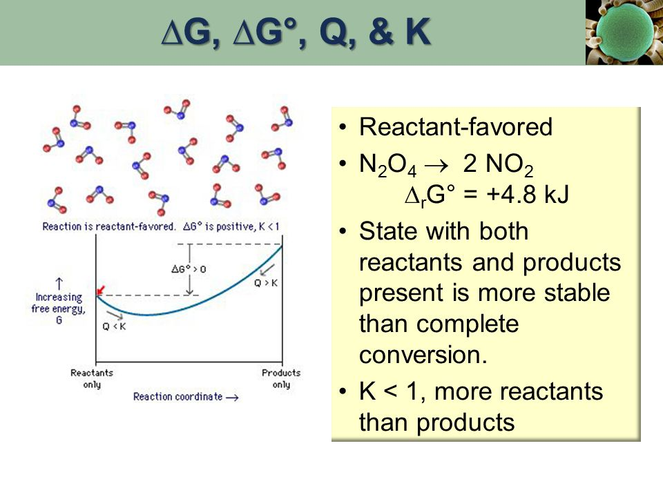 Reactant-favored N 2 O 4  2 NO 2 ∆ r G° = +4.8 kJ State with both reactants and products present is more stable than complete conversion. K < 1, more