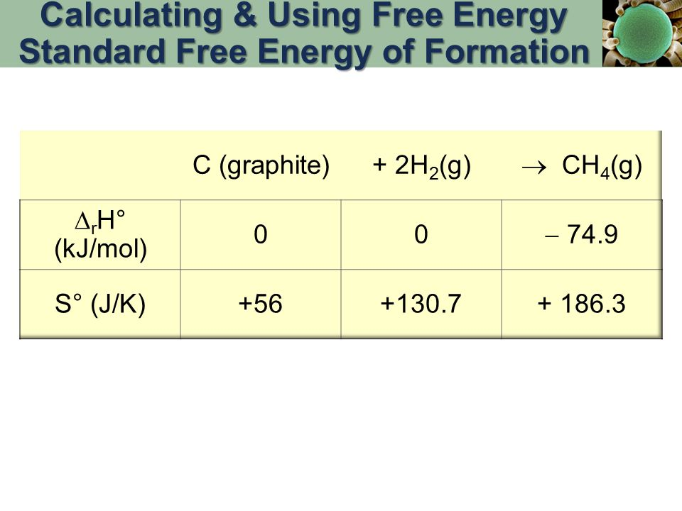 Calculating & Using Free Energy Standard Free Energy of Formation